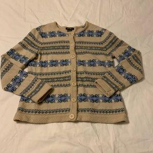 Eddie Bauer Fair Isle Nordic Cardigan Sweater Wool